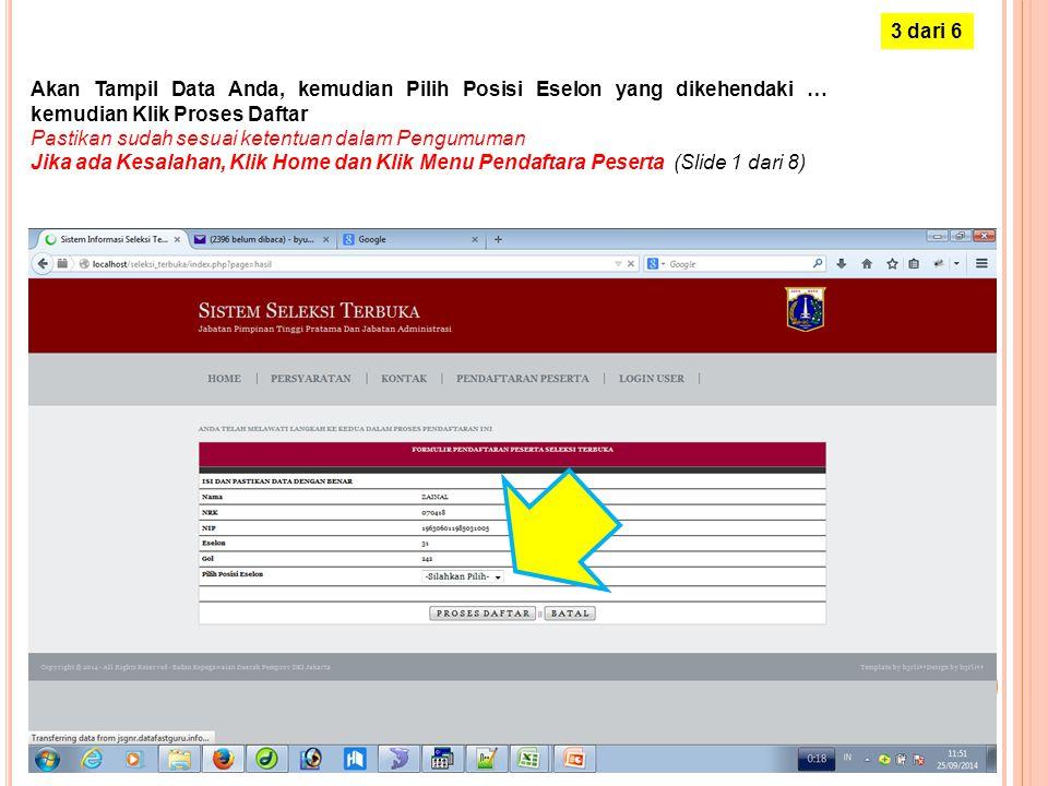 Masukkan NRK dan NIP, kemudian Klik Proses Pendaftaran 2 dari 6
