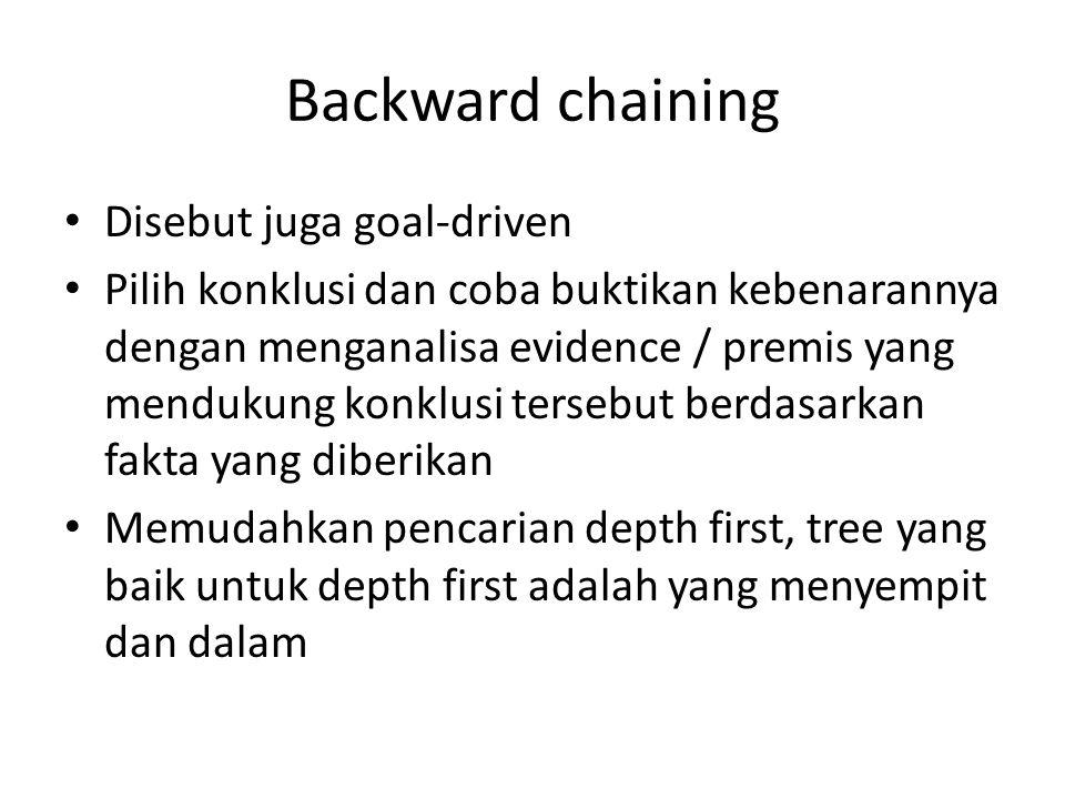 Backward chaining Disebut juga goal-driven Pilih konklusi dan coba buktikan kebenarannya dengan menganalisa evidence / premis yang mendukung konklusi