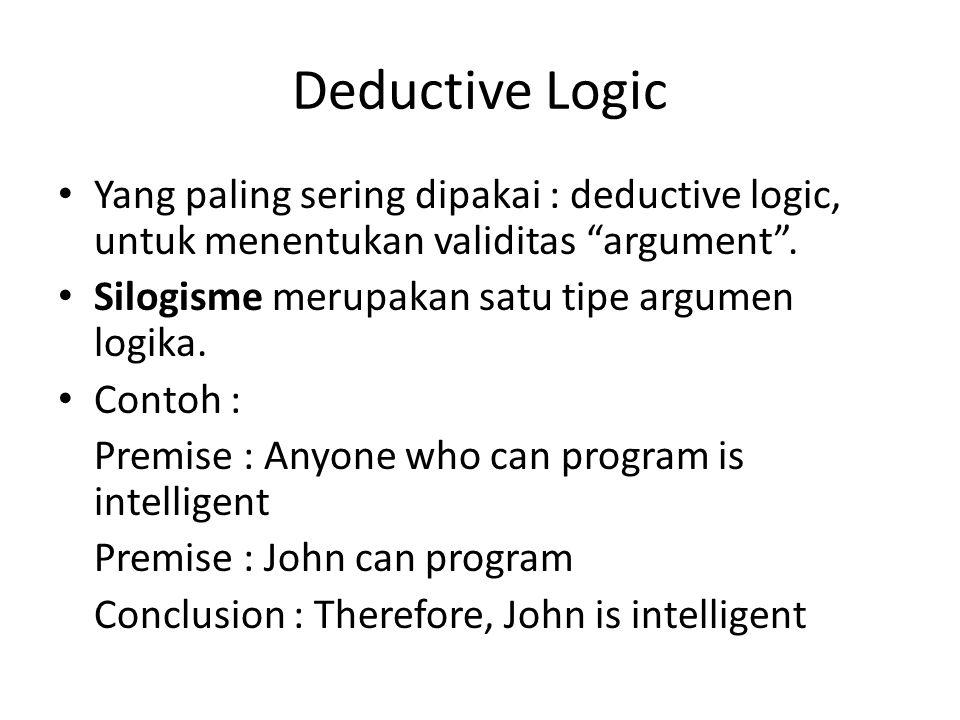 """Deductive Logic Yang paling sering dipakai : deductive logic, untuk menentukan validitas """"argument"""". Silogisme merupakan satu tipe argumen logika. Con"""