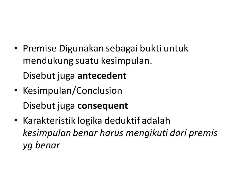 Premise Digunakan sebagai bukti untuk mendukung suatu kesimpulan. Disebut juga antecedent Kesimpulan/Conclusion Disebut juga consequent Karakteristik