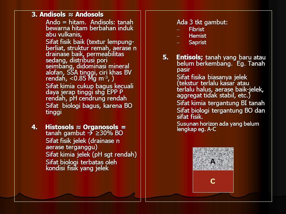 3.Andisols ≈ Andosols Ando = hitam.