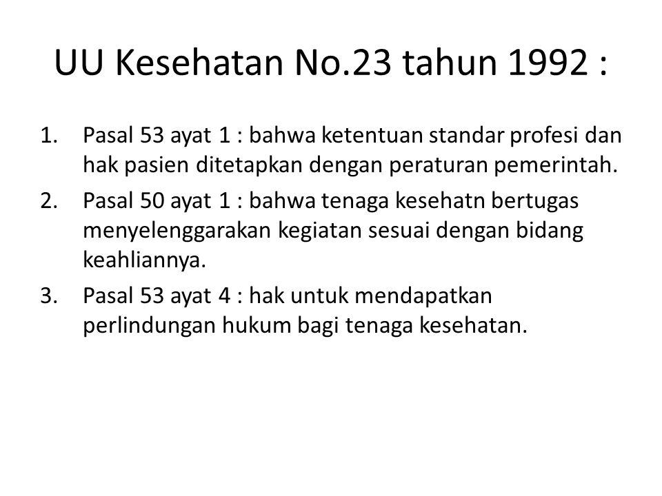 UU Kesehatan No.23 tahun 1992 : 1.Pasal 53 ayat 1 : bahwa ketentuan standar profesi dan hak pasien ditetapkan dengan peraturan pemerintah. 2.Pasal 50