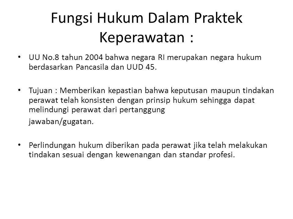 Fungsi Hukum Dalam Praktek Keperawatan : UU No.8 tahun 2004 bahwa negara RI merupakan negara hukum berdasarkan Pancasila dan UUD 45. Tujuan : Memberik