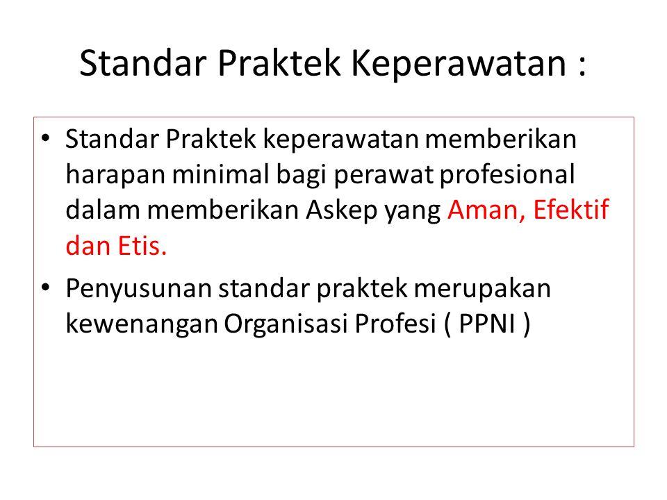 Komponen Standar Praktek Keperawatan ( college of Nurses of Ontorio, 1990 ) Pernyataan ttg pengetahuan perawat : - Konsep Dasar keperawatan - Peran perawat dan hub.