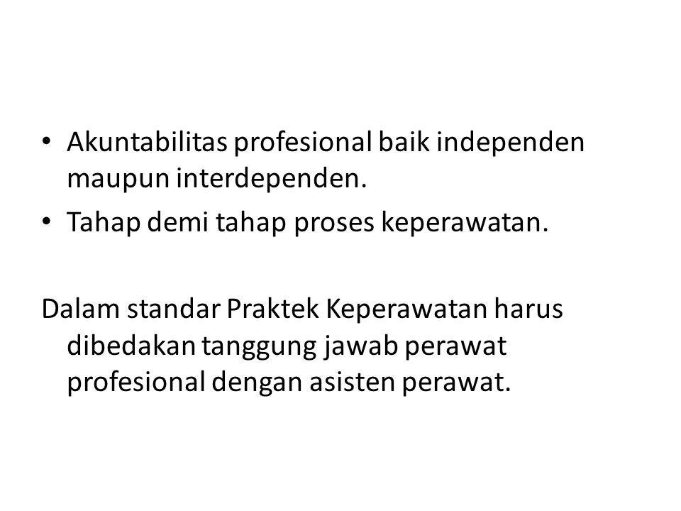 Akuntabilitas profesional baik independen maupun interdependen. Tahap demi tahap proses keperawatan. Dalam standar Praktek Keperawatan harus dibedakan