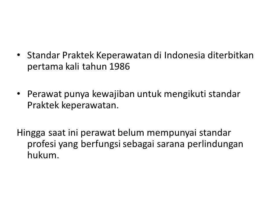 Standar Praktek Keperawatan di Indonesia diterbitkan pertama kali tahun 1986 Perawat punya kewajiban untuk mengikuti standar Praktek keperawatan. Hing