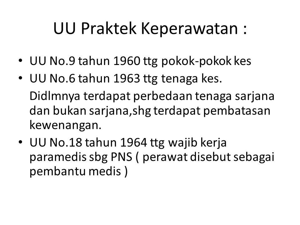 UU Praktek Keperawatan : UU No.9 tahun 1960 ttg pokok-pokok kes UU No.6 tahun 1963 ttg tenaga kes. Didlmnya terdapat perbedaan tenaga sarjana dan buka