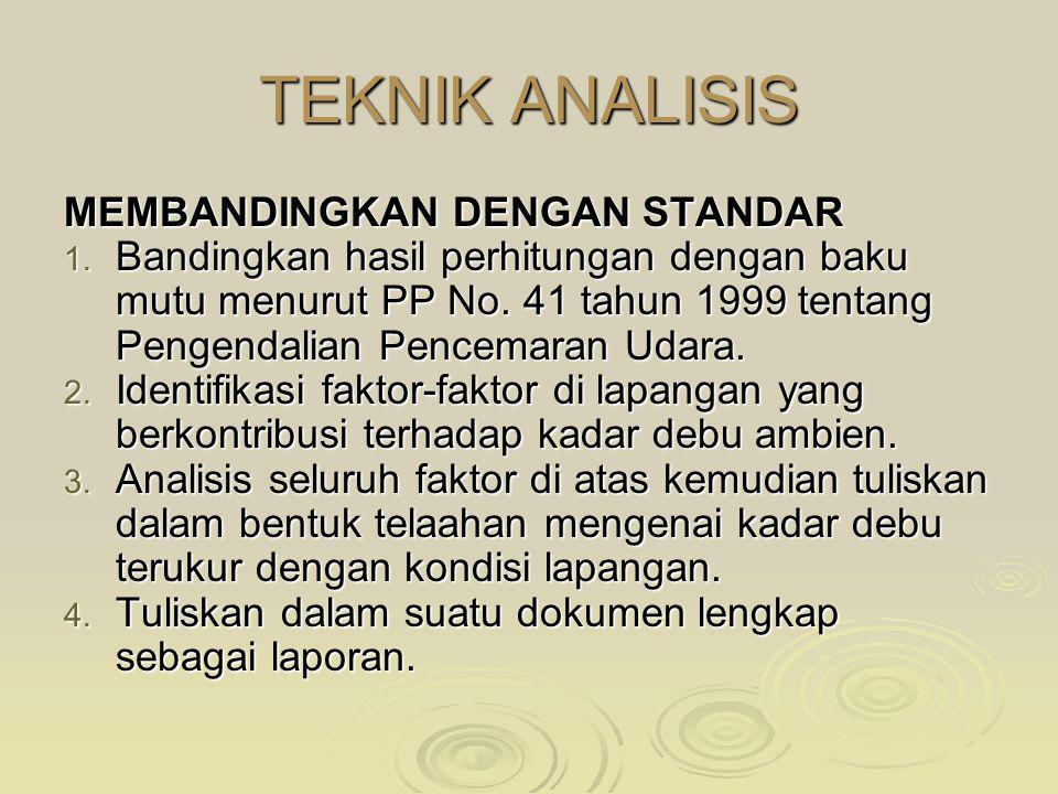 TEKNIK ANALISIS MEMBANDINGKAN DENGAN STANDAR 1. Bandingkan hasil perhitungan dengan baku mutu menurut PP No. 41 tahun 1999 tentang Pengendalian Pencem