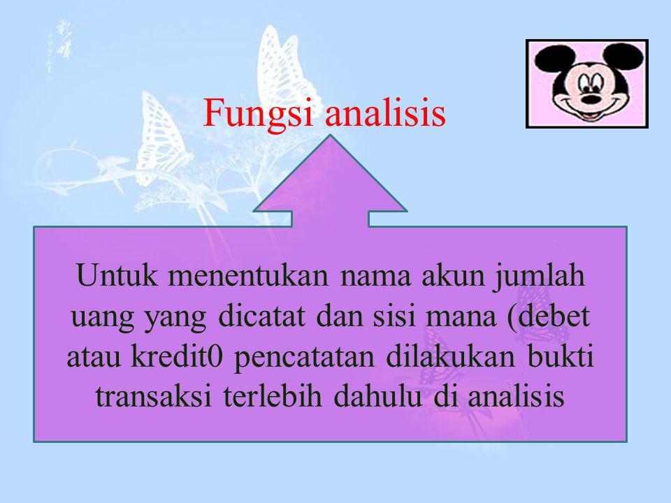 Fungsi analisis Untuk menentukan nama akun jumlah uang yang dicatat dan sisi mana (debet atau kredit0 pencatatan dilakukan bukti transaksi terlebih dahulu di analisis