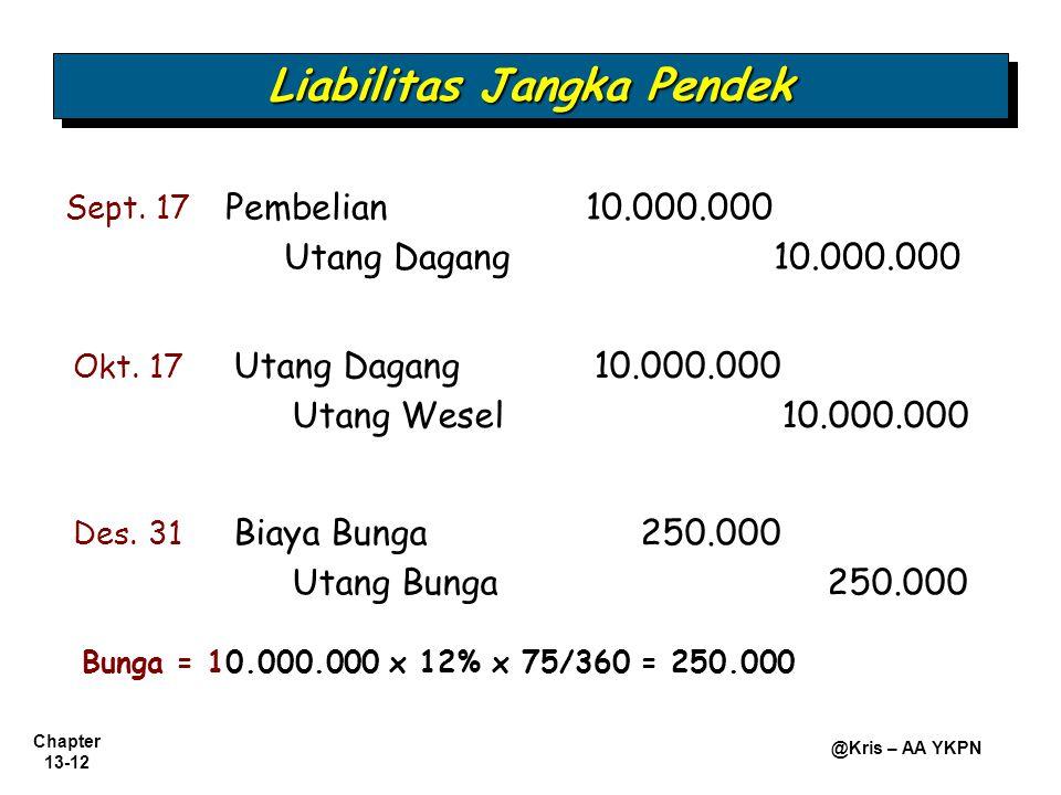 Chapter 13-12 @Kris – AA YKPN Okt. 17 Utang Dagang 10.000.000 Utang Wesel10.000.000 Liabilitas Jangka Pendek Des. 31 Biaya Bunga 250.000 Utang Bunga 2