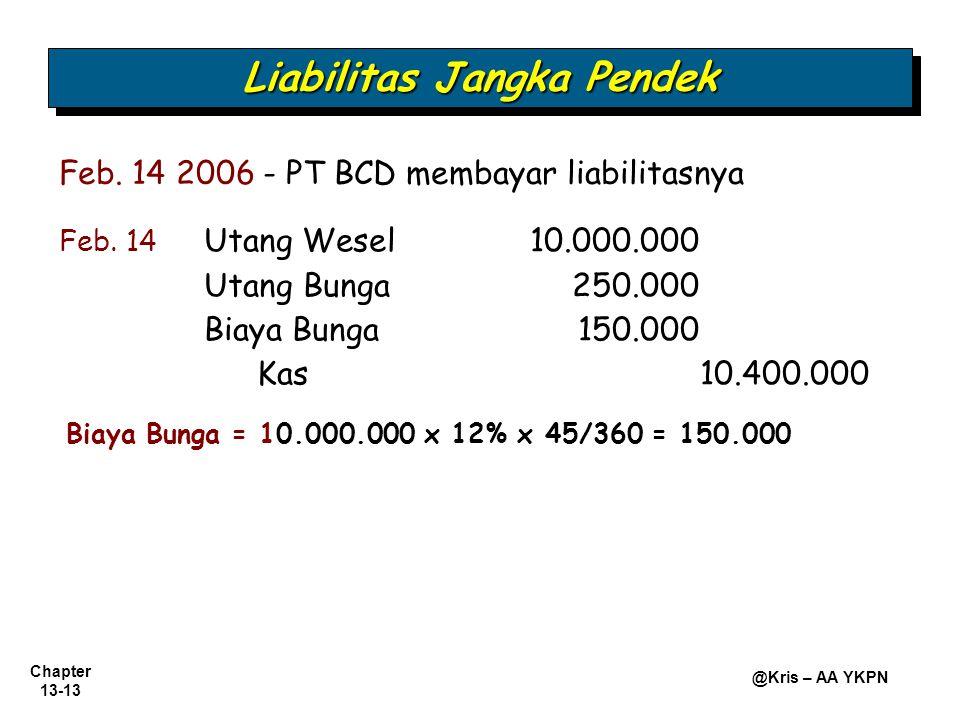 Chapter 13-13 @Kris – AA YKPN Feb. 14 2006 - PT BCD membayar liabilitasnya Feb. 14 Utang Wesel 10.000.000 Utang Bunga 250.000 Biaya Bunga150.000 Kas10