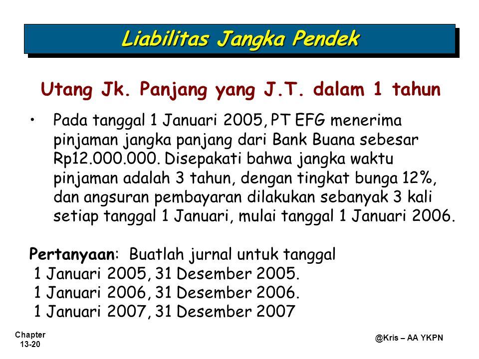 Chapter 13-20 @Kris – AA YKPN Utang Jk. Panjang yang J.T. dalam 1 tahun Pada tanggal 1 Januari 2005, PT EFG menerima pinjaman jangka panjang dari Bank