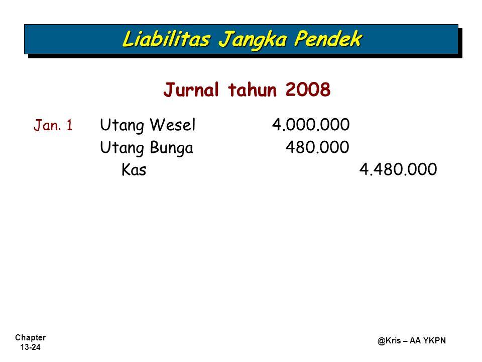 Chapter 13-24 @Kris – AA YKPN Liabilitas Jangka Pendek Jan. 1 Utang Wesel 4.000.000 Utang Bunga480.000 Kas4.480.000 Jurnal tahun 2008