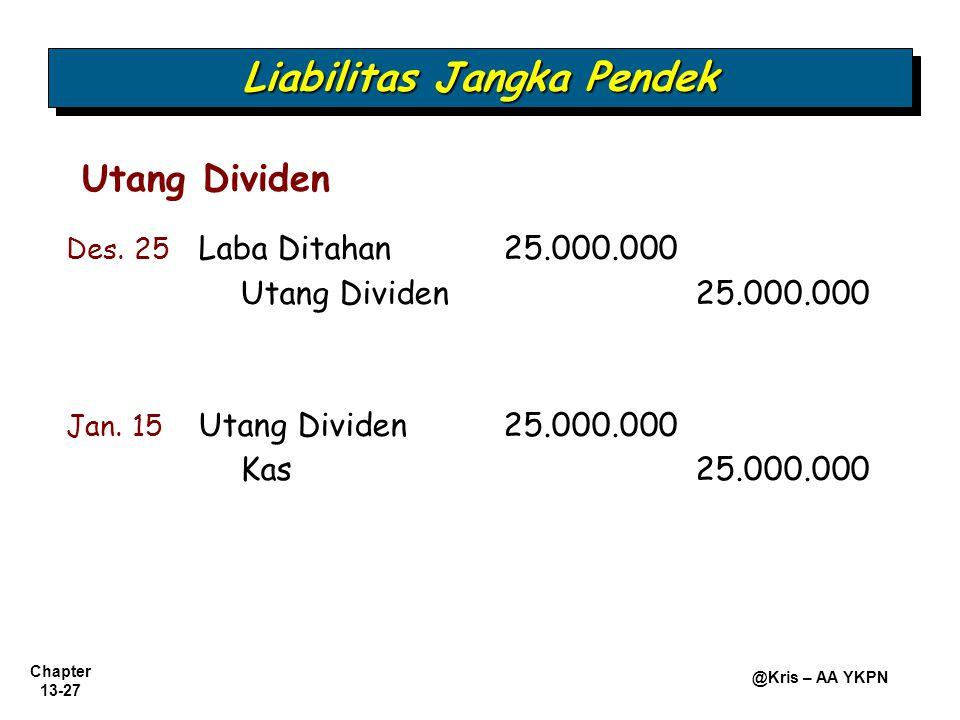 Chapter 13-27 @Kris – AA YKPN Utang Dividen Liabilitas Jangka Pendek Des. 25 Laba Ditahan 25.000.000 Utang Dividen25.000.000 Jan. 15 Utang Dividen25.0