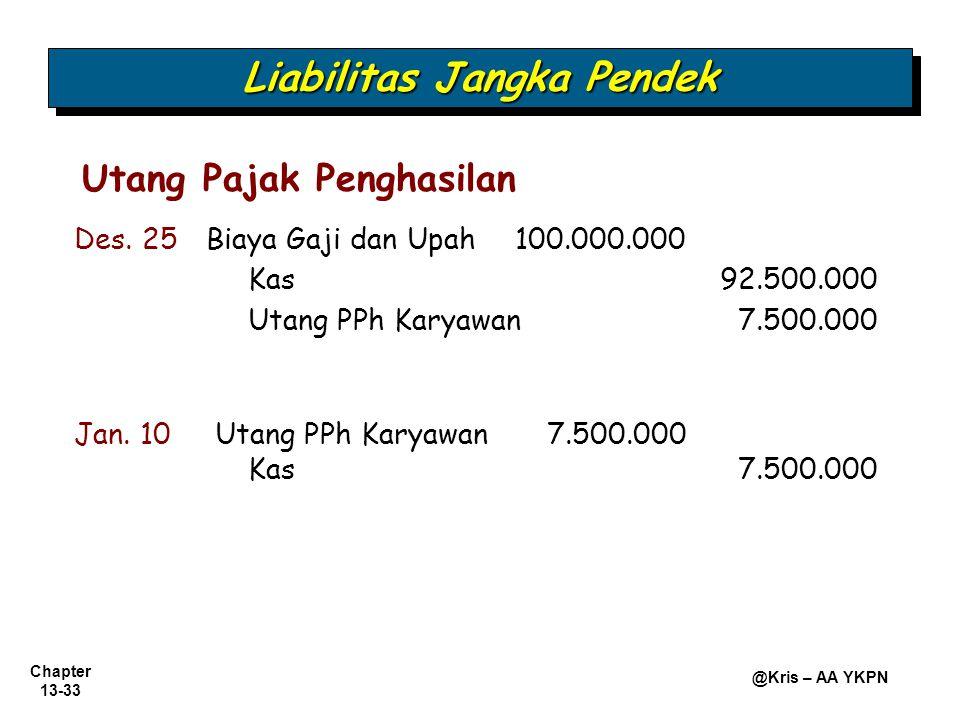 Chapter 13-33 @Kris – AA YKPN Utang Pajak Penghasilan Liabilitas Jangka Pendek Des. 25Biaya Gaji dan Upah100.000.000 Kas92.500.000 Utang PPh Karyawan7