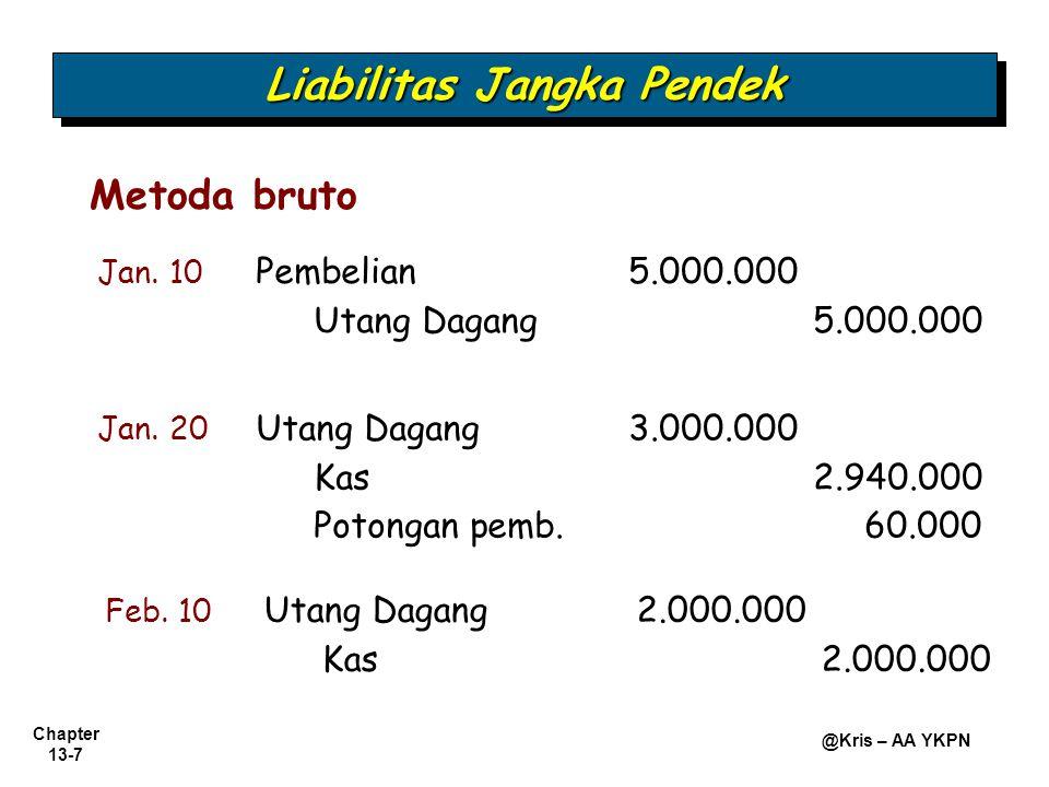 Chapter 13-7 @Kris – AA YKPN Metoda bruto Jan. 10 Pembelian 5.000.000 Utang Dagang5.000.000 Jan. 20 Utang Dagang 3.000.000 Kas2.940.000 Potongan pemb.