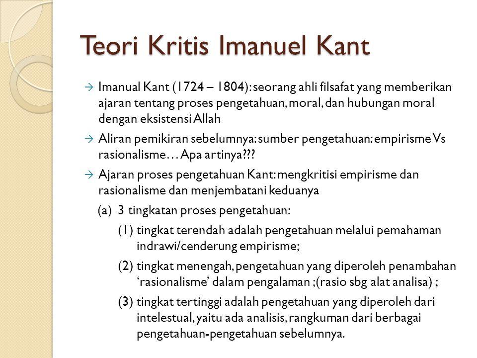 Teori Kritis Imanuel Kant  Imanual Kant (1724 – 1804): seorang ahli filsafat yang memberikan ajaran tentang proses pengetahuan, moral, dan hubungan m