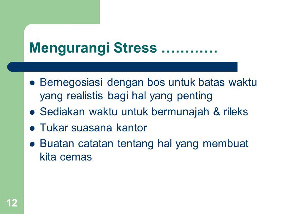 12 Mengurangi Stress ………… Bernegosiasi dengan bos untuk batas waktu yang realistis bagi hal yang penting Sediakan waktu untuk bermunajah & rileks Tukar suasana kantor Buatan catatan tentang hal yang membuat kita cemas