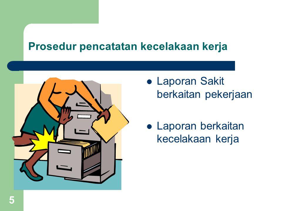 5 Prosedur pencatatan kecelakaan kerja Laporan Sakit berkaitan pekerjaan Laporan berkaitan kecelakaan kerja