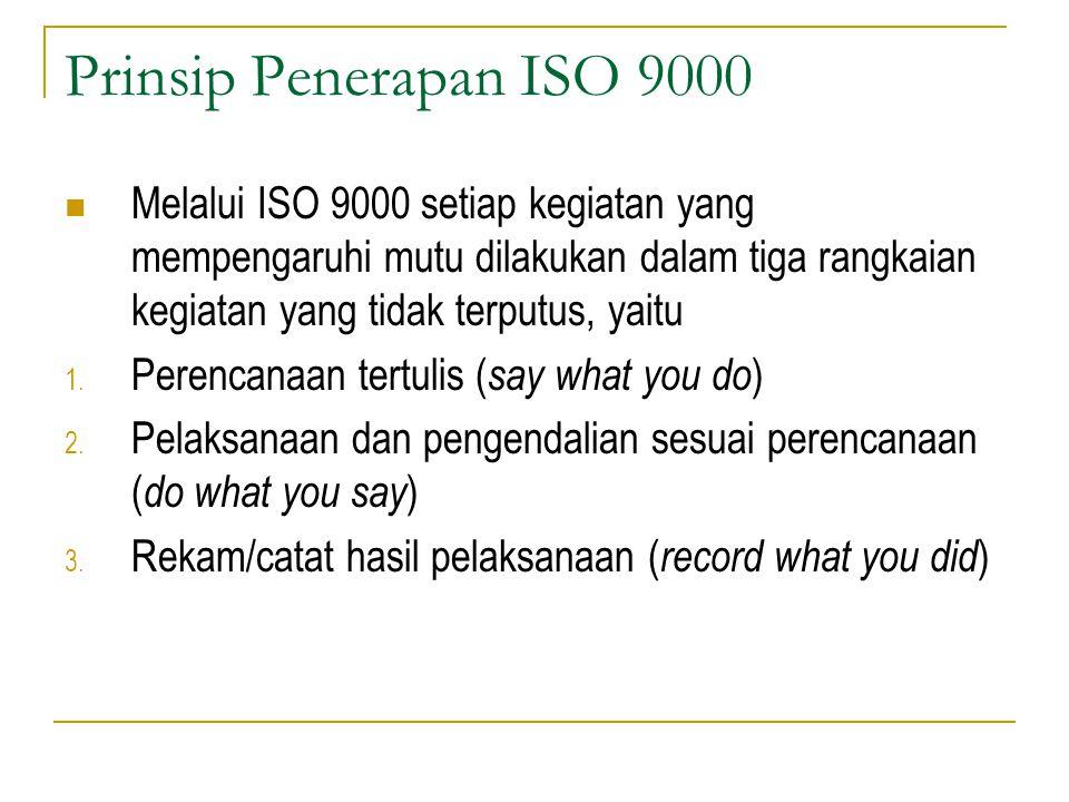 Prinsip Penerapan ISO 9000 Melalui ISO 9000 setiap kegiatan yang mempengaruhi mutu dilakukan dalam tiga rangkaian kegiatan yang tidak terputus, yaitu 1.