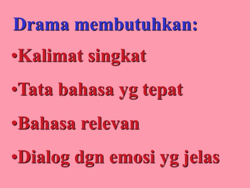 KalimatKalimat singkat TataTata bahasa yg tepat BahasaBahasa relevan DialogDialog dgn emosi yg jelas Drama membutuhkan: