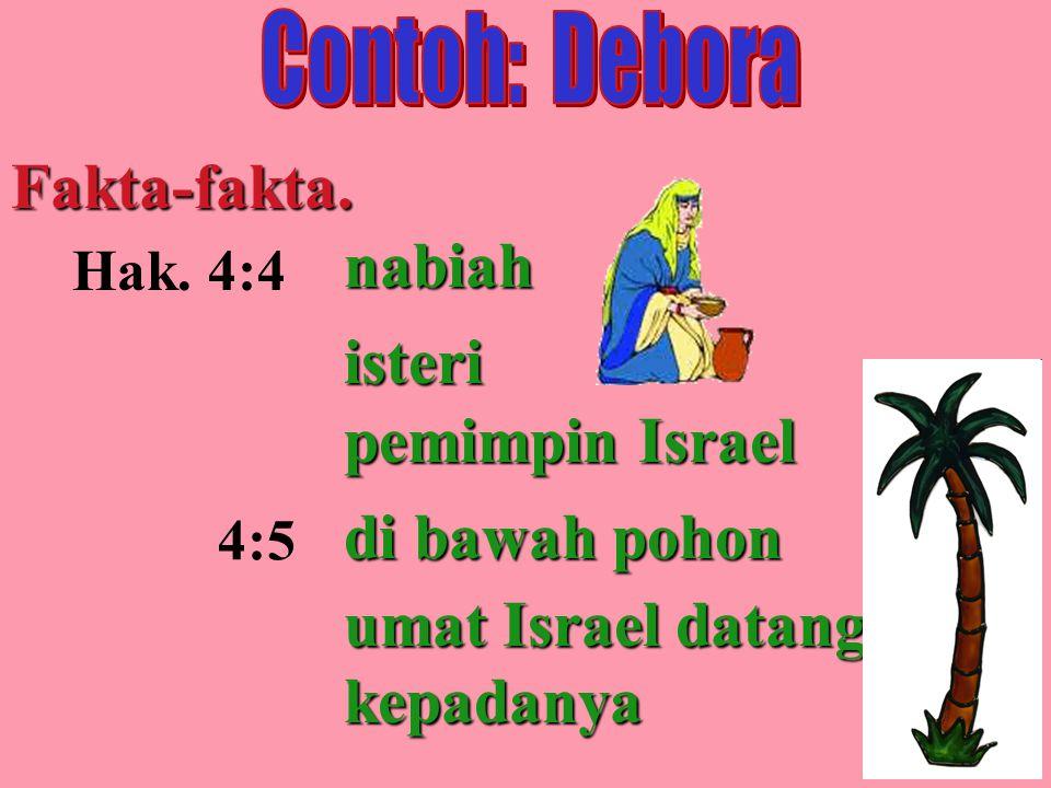 Fakta-fakta. Hak. 4:4 4:5 nabiah isteri pemimpin Israel di bawah pohon umat Israel datang kepadanya
