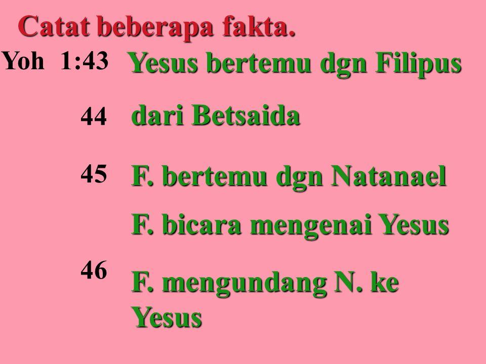 Catat beberapa fakta. Yoh 1:43 44 Yesus bertemu dgn Filipus dari Betsaida F. bertemu dgn Natanael F. bicara mengenai Yesus F. mengundang N. ke Yesus 4