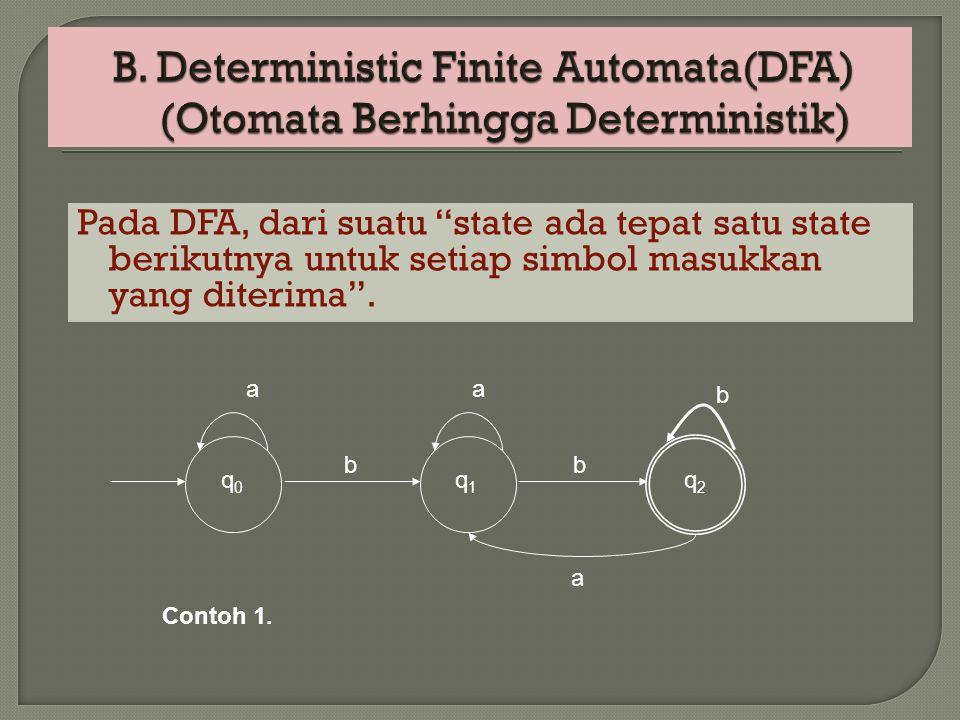 """Pada DFA, dari suatu """"state ada tepat satu state berikutnya untuk setiap simbol masukkan yang diterima"""". q 0 a b q 1 a b q2q2 a b Contoh 1."""