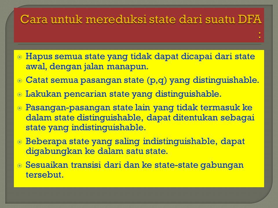  Hapus semua state yang tidak dapat dicapai dari state awal, dengan jalan manapun.  Catat semua pasangan state (p,q) yang distinguishable.  Lakukan
