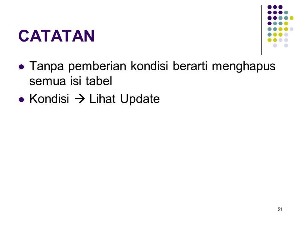51 CATATAN Tanpa pemberian kondisi berarti menghapus semua isi tabel Kondisi  Lihat Update