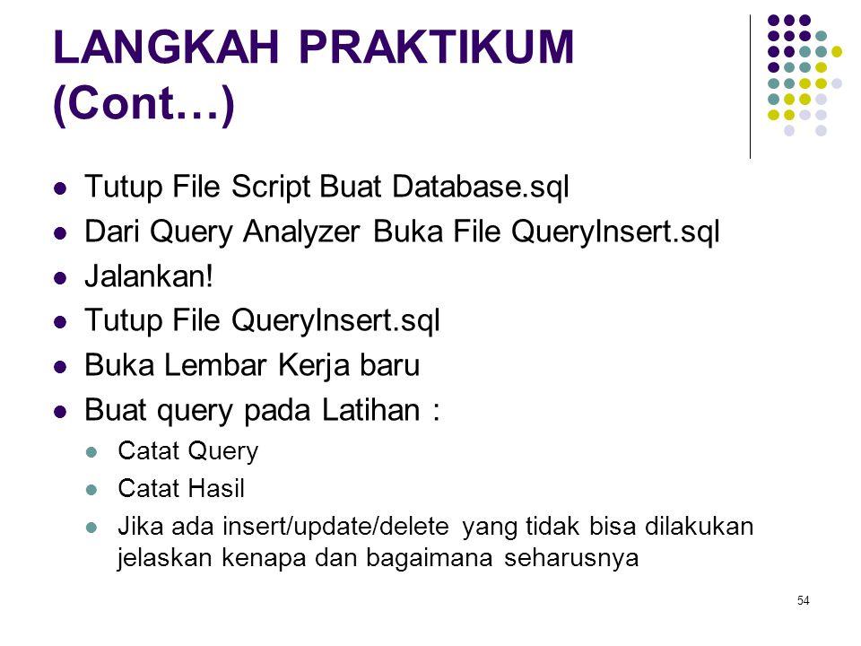 54 LANGKAH PRAKTIKUM (Cont…) Tutup File Script Buat Database.sql Dari Query Analyzer Buka File QueryInsert.sql Jalankan! Tutup File QueryInsert.sql Bu