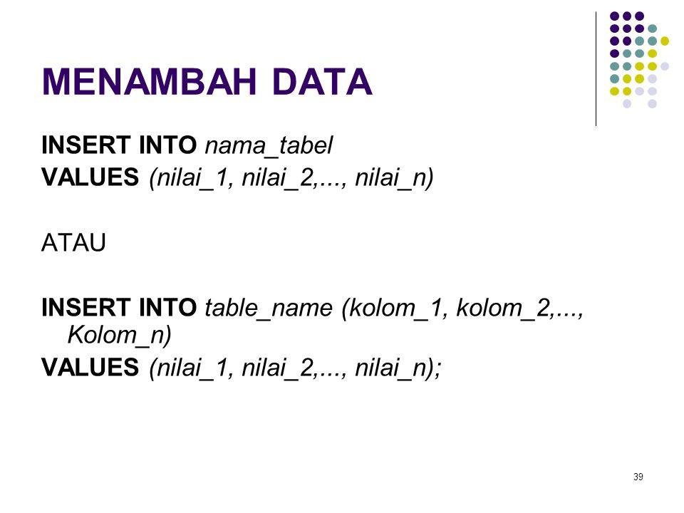 39 MENAMBAH DATA INSERT INTO nama_tabel VALUES (nilai_1, nilai_2,..., nilai_n) ATAU INSERT INTO table_name (kolom_1, kolom_2,..., Kolom_n) VALUES (nil