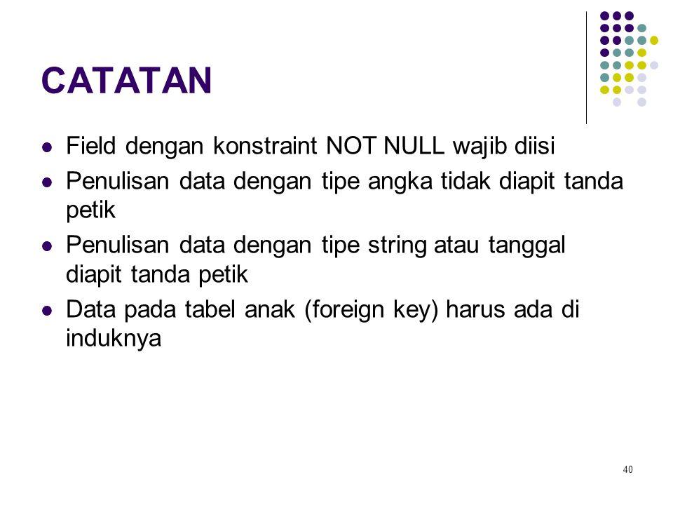 40 CATATAN Field dengan konstraint NOT NULL wajib diisi Penulisan data dengan tipe angka tidak diapit tanda petik Penulisan data dengan tipe string at