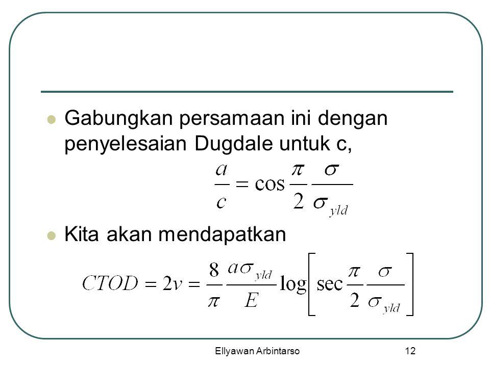 Ellyawan Arbintarso 12 Gabungkan persamaan ini dengan penyelesaian Dugdale untuk c, Kita akan mendapatkan