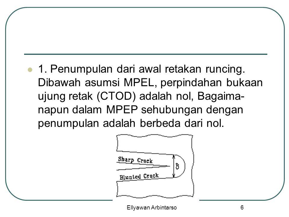 Ellyawan Arbintarso 6 1. Penumpulan dari awal retakan runcing. Dibawah asumsi MPEL, perpindahan bukaan ujung retak (CTOD) adalah nol, Bagaima- napun d