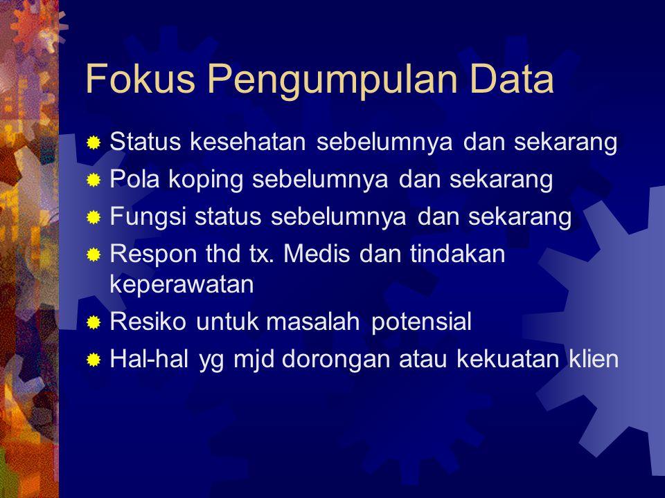 Fokus Pengumpulan Data  Status kesehatan sebelumnya dan sekarang  Pola koping sebelumnya dan sekarang  Fungsi status sebelumnya dan sekarang  Respon thd tx.