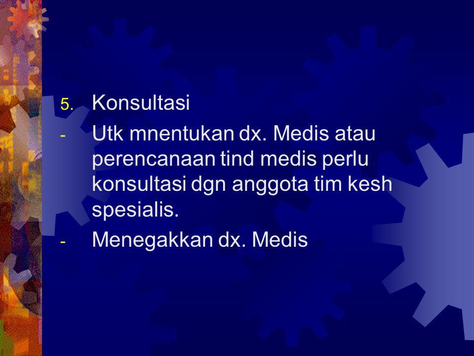 5. Konsultasi - Utk mnentukan dx. Medis atau perencanaan tind medis perlu konsultasi dgn anggota tim kesh spesialis. - Menegakkan dx. Medis