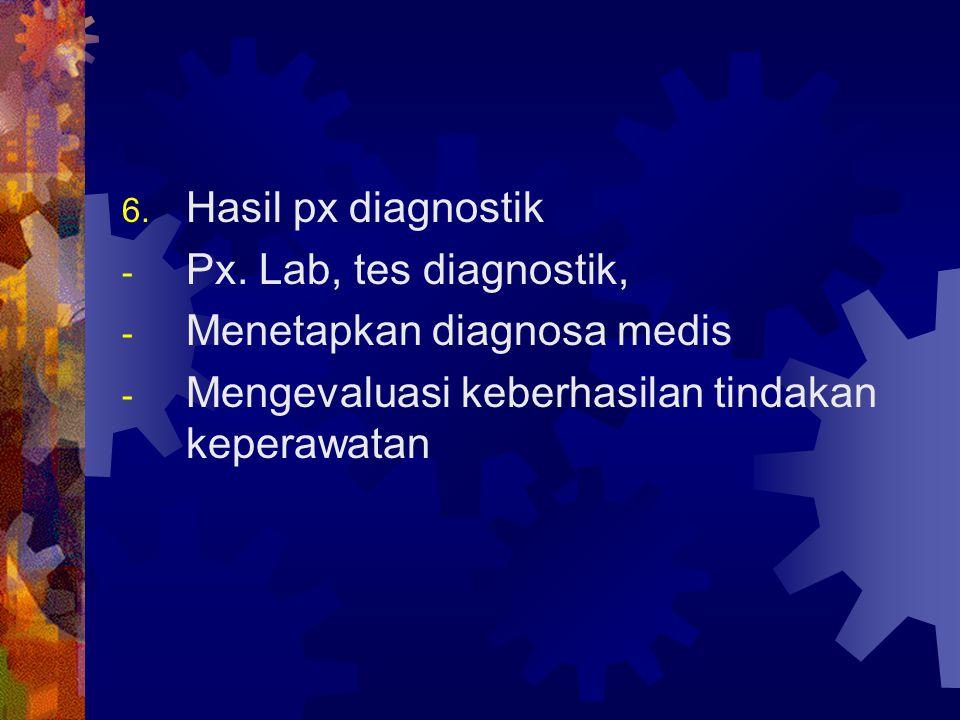 6. Hasil px diagnostik - Px. Lab, tes diagnostik, - Menetapkan diagnosa medis - Mengevaluasi keberhasilan tindakan keperawatan