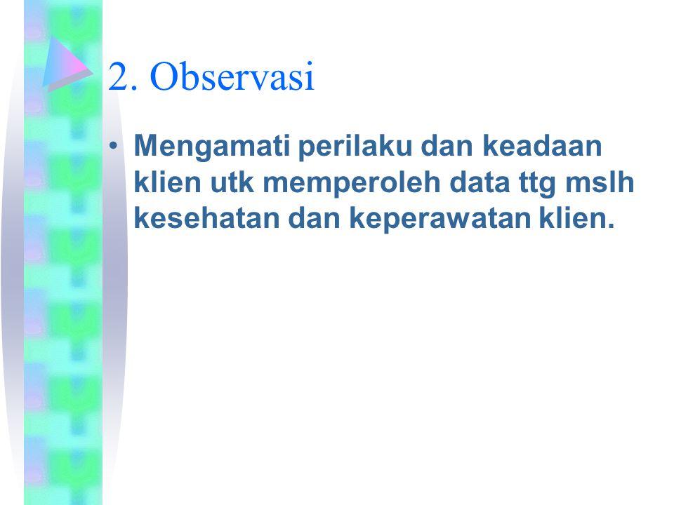 2. Observasi Mengamati perilaku dan keadaan klien utk memperoleh data ttg mslh kesehatan dan keperawatan klien.