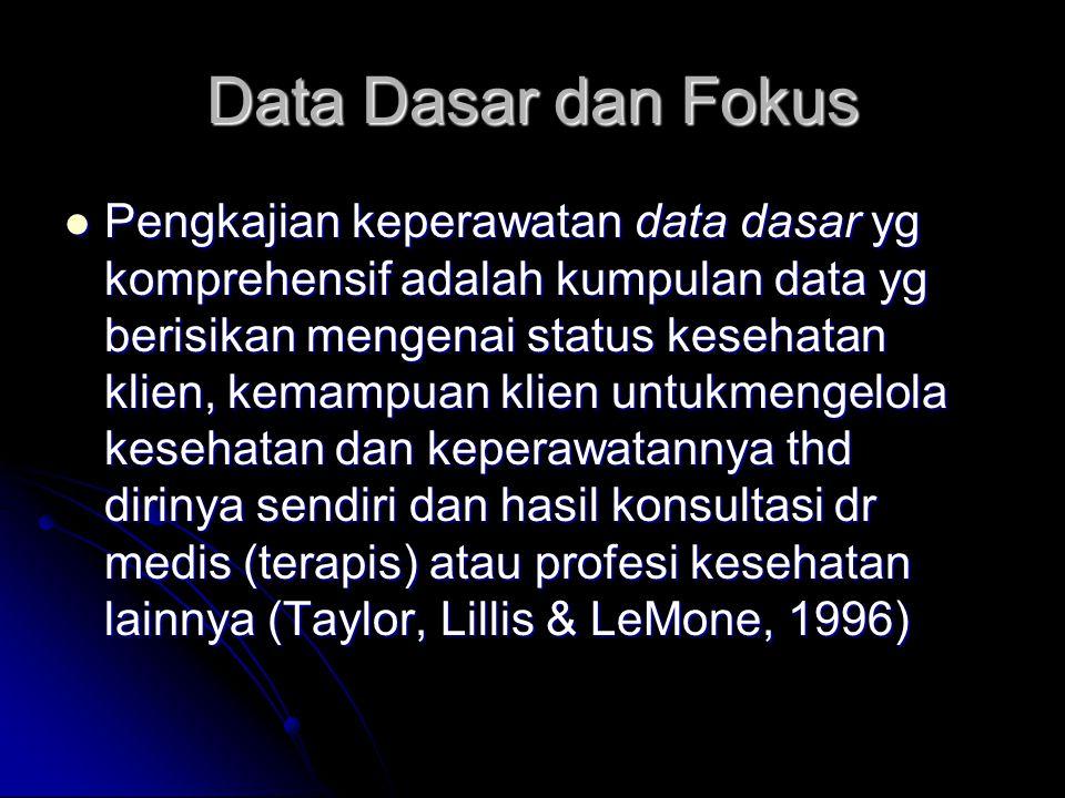Data Dasar dan Fokus Pengkajian keperawatan data dasar yg komprehensif adalah kumpulan data yg berisikan mengenai status kesehatan klien, kemampuan klien untukmengelola kesehatan dan keperawatannya thd dirinya sendiri dan hasil konsultasi dr medis (terapis) atau profesi kesehatan lainnya (Taylor, Lillis & LeMone, 1996) Pengkajian keperawatan data dasar yg komprehensif adalah kumpulan data yg berisikan mengenai status kesehatan klien, kemampuan klien untukmengelola kesehatan dan keperawatannya thd dirinya sendiri dan hasil konsultasi dr medis (terapis) atau profesi kesehatan lainnya (Taylor, Lillis & LeMone, 1996)