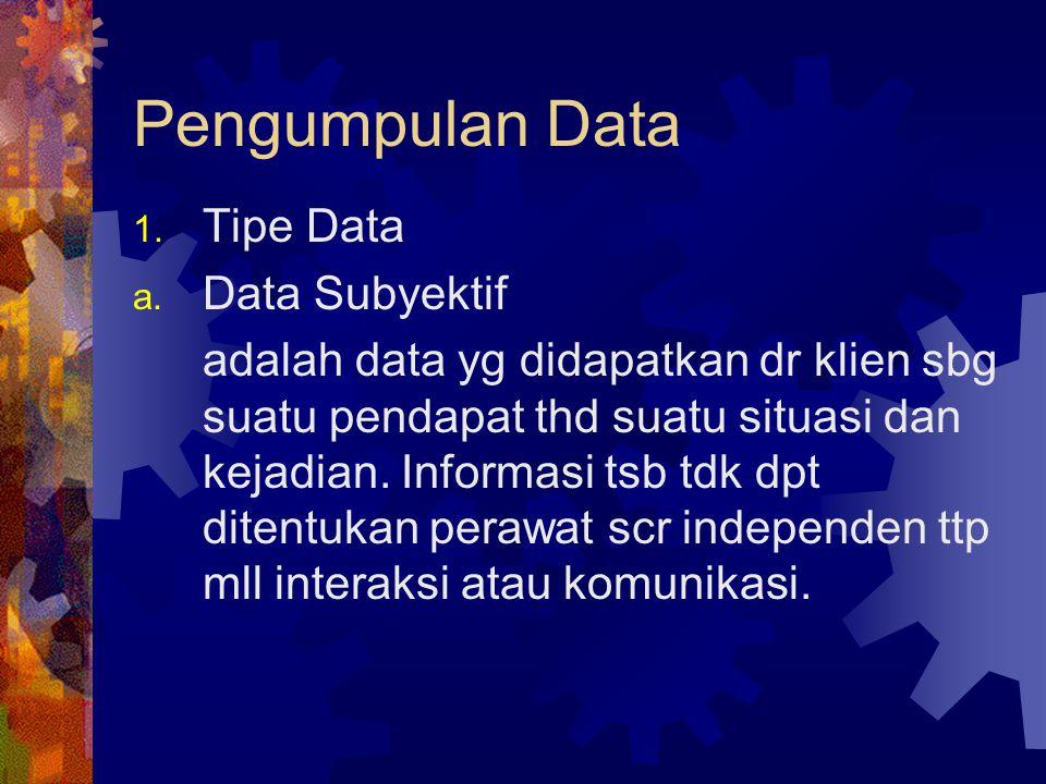 Pengumpulan Data 1. Tipe Data a. Data Subyektif adalah data yg didapatkan dr klien sbg suatu pendapat thd suatu situasi dan kejadian. Informasi tsb td
