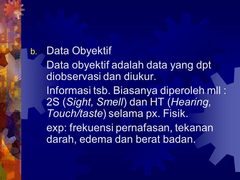 b. Data Obyektif Data obyektif adalah data yang dpt diobservasi dan diukur. Informasi tsb. Biasanya diperoleh mll : 2S (Sight, Smell) dan HT (Hearing,