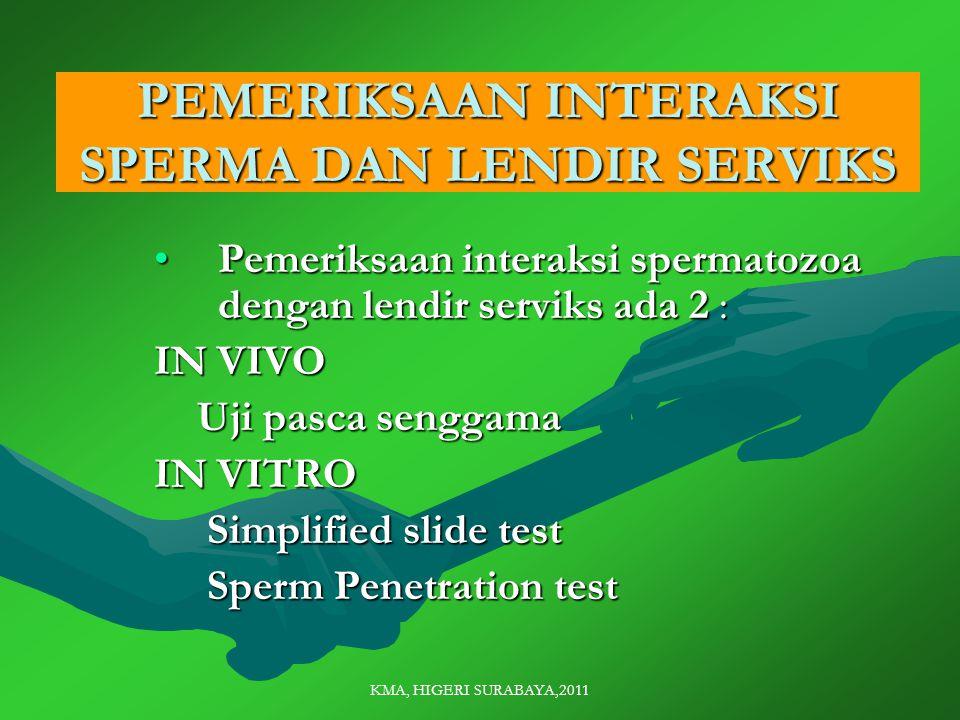 PEMERIKSAAN INTERAKSI SPERMA DAN LENDIR SERVIKS Pemeriksaan interaksi spermatozoa dengan lendir serviks ada 2 :Pemeriksaan interaksi spermatozoa dengan lendir serviks ada 2 : IN VIVO Uji pasca senggama Uji pasca senggama IN VITRO Simplified slide test Simplified slide test Sperm Penetration test Sperm Penetration test