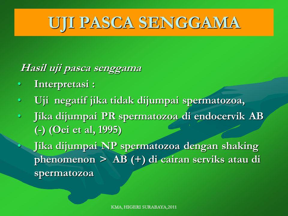 KMA, HIGERI SURABAYA,2011 UJI PASCA SENGGAMA Hasil uji pasca senggama Hasil uji pasca senggama Interpretasi :Interpretasi : Uji negatif jika tidak dijumpai spermatozoa,Uji negatif jika tidak dijumpai spermatozoa, Jika dijumpai PR spermatozoa di endocervik AB (-) (Oei et al, 1995)Jika dijumpai PR spermatozoa di endocervik AB (-) (Oei et al, 1995) Jika dijumpai NP spermatozoa dengan shaking phenomenon > AB (+) di cairan serviks atau di spermatozoaJika dijumpai NP spermatozoa dengan shaking phenomenon > AB (+) di cairan serviks atau di spermatozoa