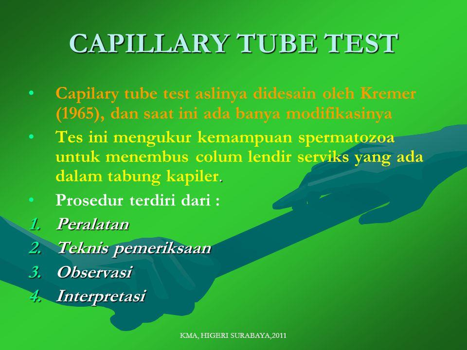 KMA, HIGERI SURABAYA,2011 CAPILLARY TUBE TEST Capilary tube test aslinya didesain oleh Kremer (1965), dan saat ini ada banya modifikasinya.Tes ini mengukur kemampuan spermatozoa untuk menembus colum lendir serviks yang ada dalam tabung kapiler.