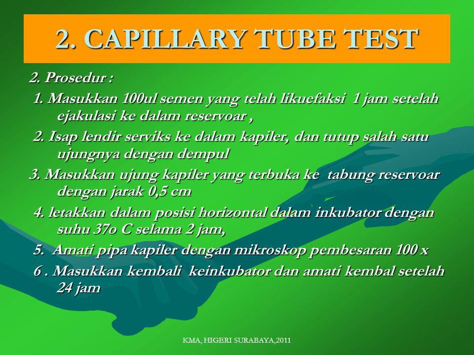 KMA, HIGERI SURABAYA,2011 2. CAPILLARY TUBE TEST 2.