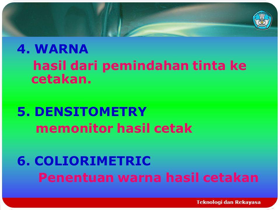 Teknologi dan Rekayasa 4. WARNA hasil dari pemindahan tinta ke cetakan. 5. DENSITOMETRY memonitor hasil cetak 6. COLIORIMETRIC Penentuan warna hasil c
