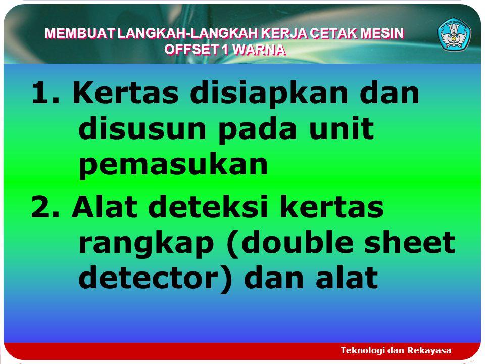 MEMBUAT LANGKAH-LANGKAH KERJA CETAK MESIN OFFSET 1 WARNA 1. Kertas disiapkan dan disusun pada unit pemasukan 2. Alat deteksi kertas rangkap (double sh