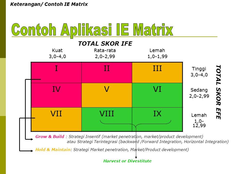 Keterangan/ Contoh IE Matrix IIIIII IVVVI VIIVIIIIX Kuat3,0-4,0Rata-rata2,0-2,99Lemah1,0-1,99 Tinggi3,0-4,0 Sedang2,0-2,99 Lemah 1,0- 12,99 TOTAL SKOR