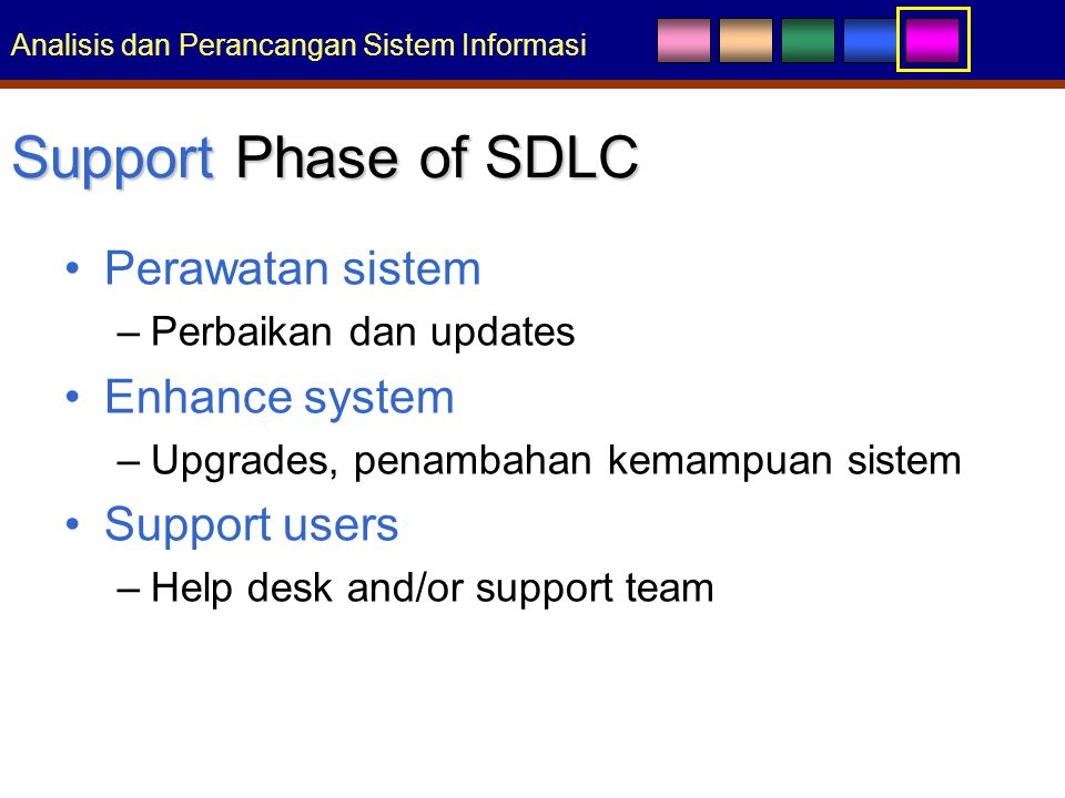Analisis dan Perancangan Sistem Informasi Support Phase of SDLC Perawatan sistem –Perbaikan dan updates Enhance system –Upgrades, penambahan kemampuan sistem Support users –Help desk and/or support team